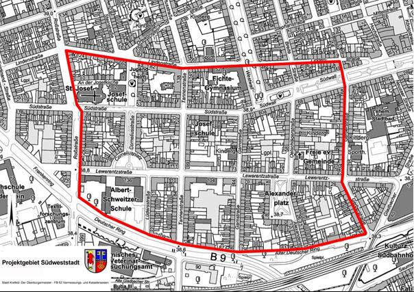 Projektgebiet Südweststadt_ohne Maßstab